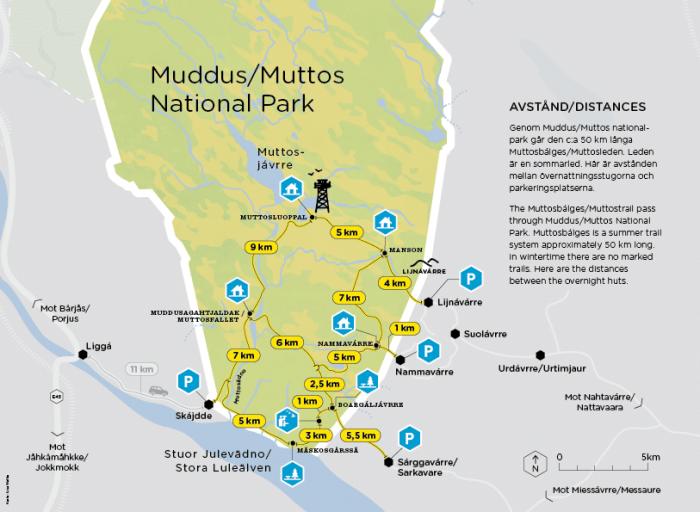 Avstandskarta Muddus/Muttos