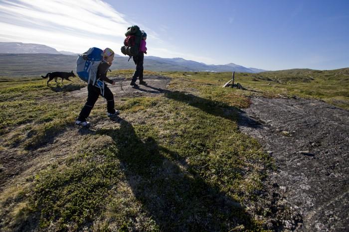 Vandrare på Gränsleden mellan Rijtsem och Sörfjord i Norge.